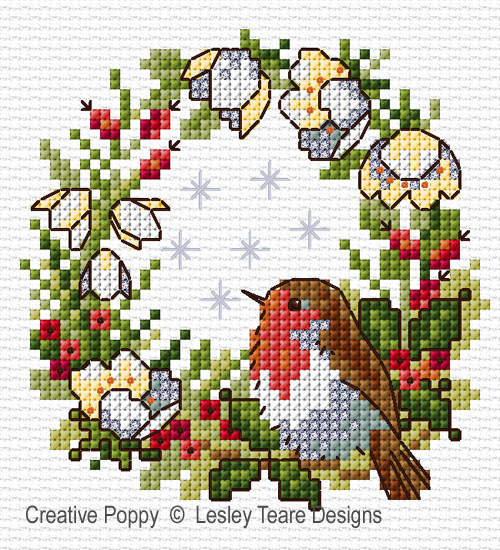 Rouge-gorge de Noël, grille de broderie, création Lesley Teare Designs