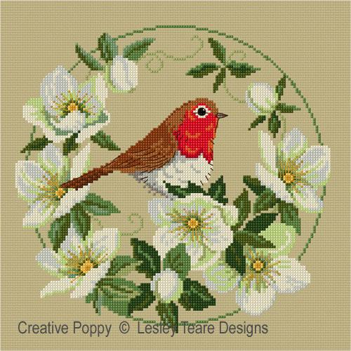 Rouge-gorge aux roses de Noël, grille de broderie, création Lesley Teare Designs