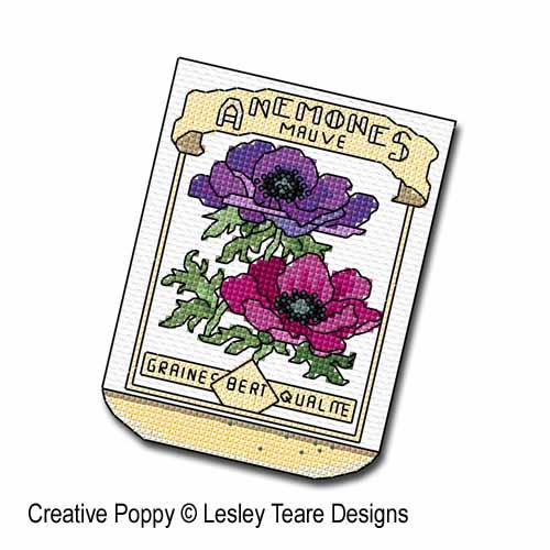 Sachets de graines broderie point de croix, création Lesley Teare, zoom2