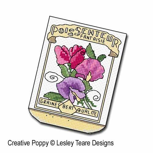 Sachets de graines broderie point de croix, création Lesley Teare, zoom1