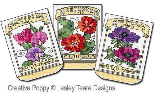 Sachets de graines, grille de broderie, création Lesley Teare