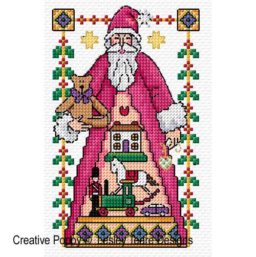 4 motifs de Saint Nicolas, grille de broderie, création Lesley Teare