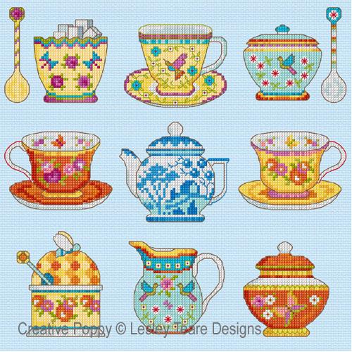 Le service à thé, grille de broderie, création Lesley Teare