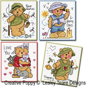 Cartes 4 motifs oursons - Garçon, grille de broderie, création Lesley Teare