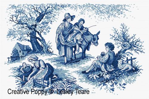 Toile de Jouy, grille de broderie, création Lesley Teare