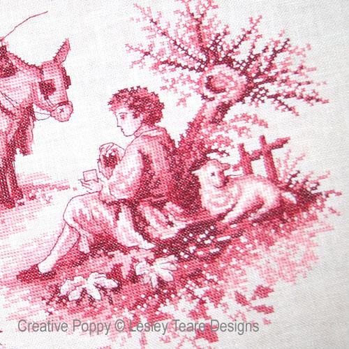 Toile de Jouy rouge pourpre, grille de point de croix création Lesley Teare