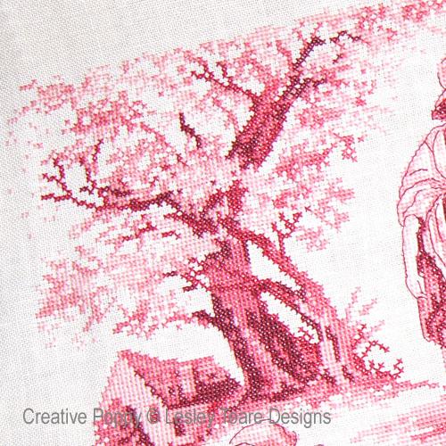 Toile de Jouy rouge pourpre, grille de point de croix création Lesley Teare , zoom 1