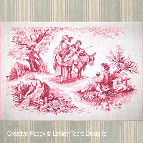 Toile de Jouy rouge pourpre, grille de broderie, création Lesley Teare