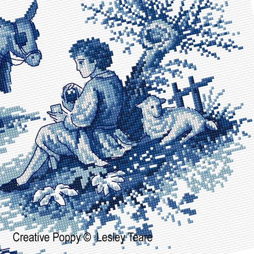 Toile de Jouy broderie point de croix, création Lesley Teare, zoom2