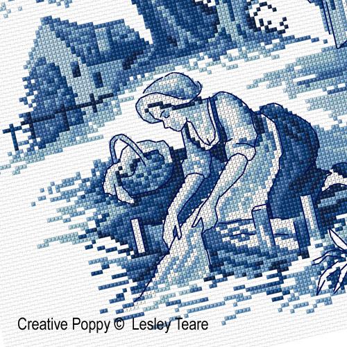 Toile de Jouy broderie point de croix, création Lesley Teare, zoom1