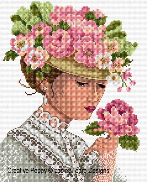 Lady Victorienne au chapeau, grille de broderie, création Lesley Teare