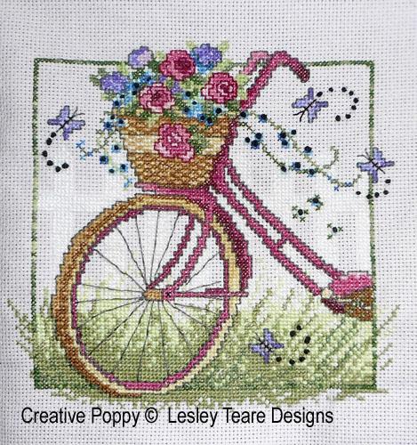 Vélo rétro, grille de broderie, création Lesley Teare