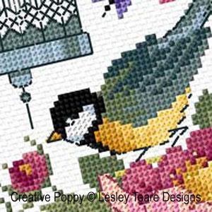 Lesley Teare - La cage aux oiseaux, zoom 1 (grille de broderie point de croix)