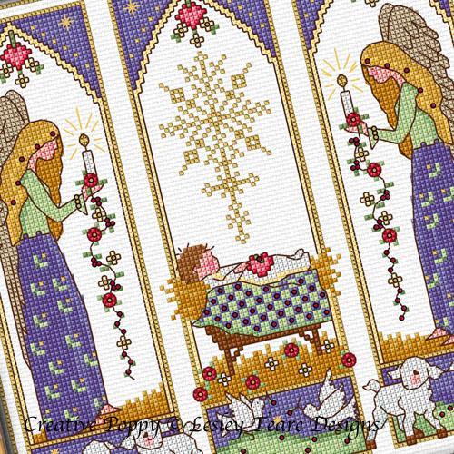 Vitrail de Noël aux anges grille de broderie, création Lesley Teare