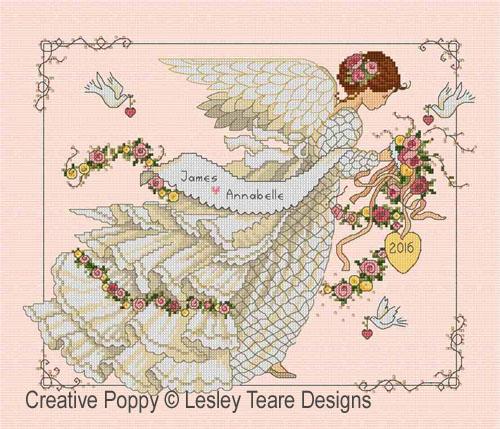 Tableau de mariage à l'ange, grille de broderie, création Lesley Teare