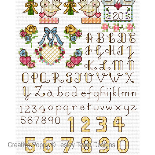 Mini motifs mariage, grille de broderie, création Lesley Teare