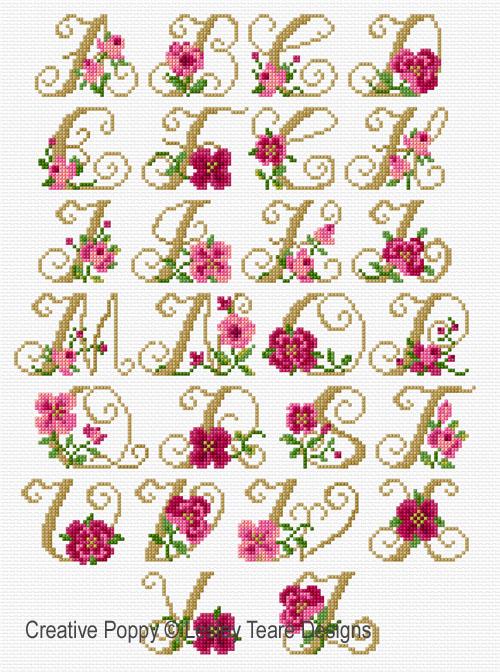 Monogrammes aux roses, grille de broderie, création Lesley Teare