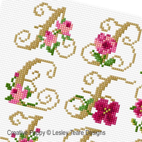 Lesley Teare - Monogrammes aux Roses, zoom 1 (grille de broderie point de croix)