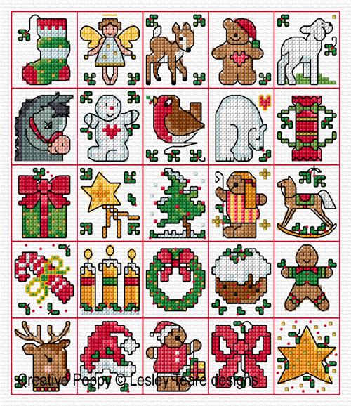25 Mini motifs de Noël, grille de broderie, création Lesley Teare