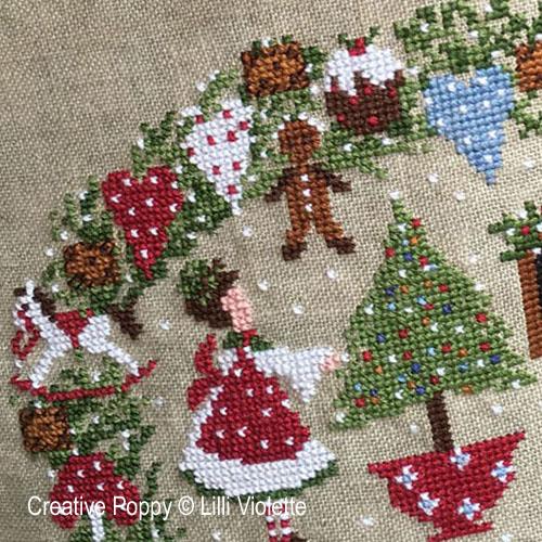 Biscuits de Noël, grille de broderie, création Lilli Violette