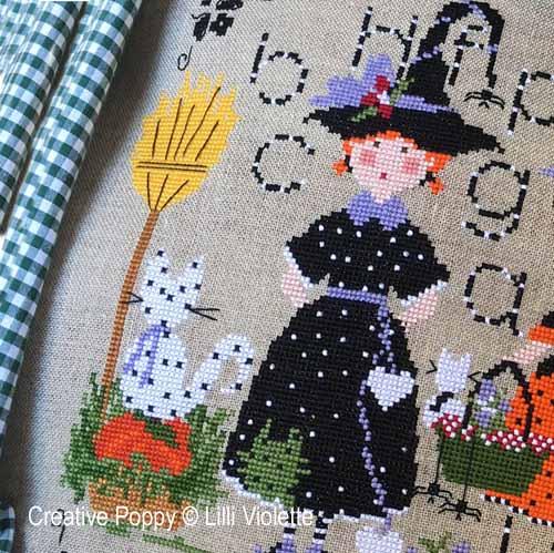 La fête de Halloween, grille de broderie, création Lilli Violette