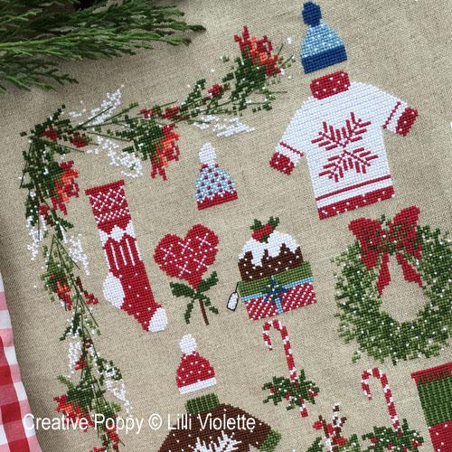 Cher Papa Noël, grille de broderie, création Lilli Violette