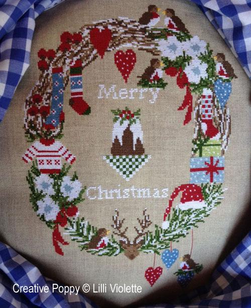 Noël heureux, grille de broderie, création Lilli Violette