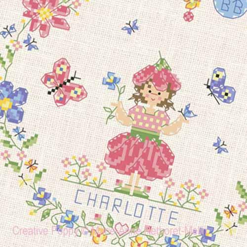 Bébé au jardin - Fille broderie point de croix, création Marie-Anne Réthoret-Melin, zoom2