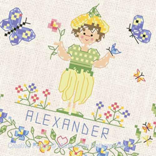Bébé au jardin - Garçon, grille de broderie, création Marie-Anne Réthoret-Melin