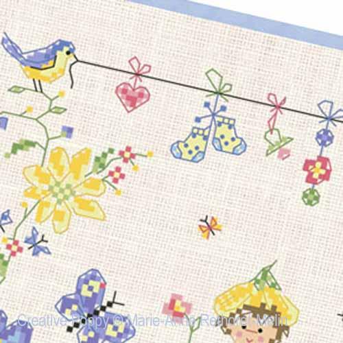 Bébé au jardin - Garçon broderie point de croix, création Marie-Anne Réthoret-Melin, zoom2
