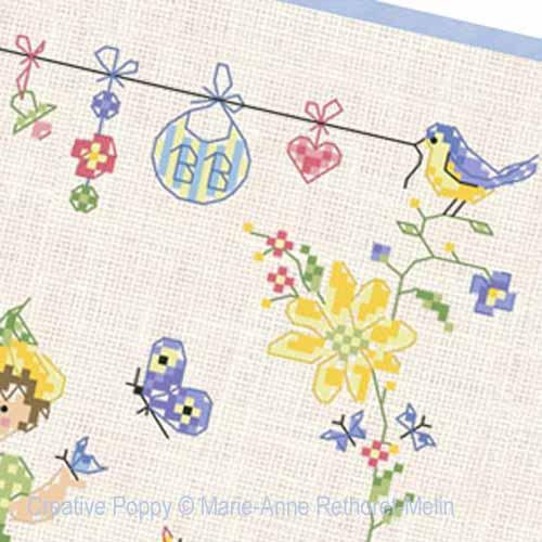 Bébé au jardin - Garçon broderie point de croix, création Marie-Anne Réthoret-Melin, zoom3