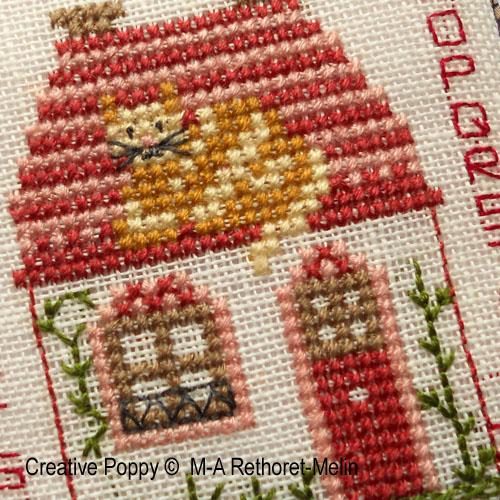 Pinkeep - Un chat sur le toit, grille de broderie, création Marie-Anne Rethoret-Melin