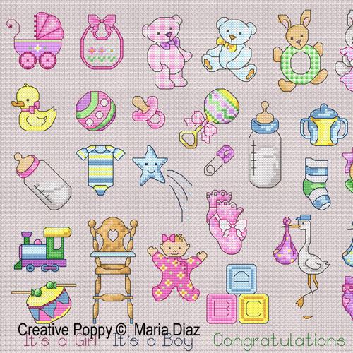 Maria Diaz - 36 motifs naissance, zoom 1 (grille de broderie point de croix)