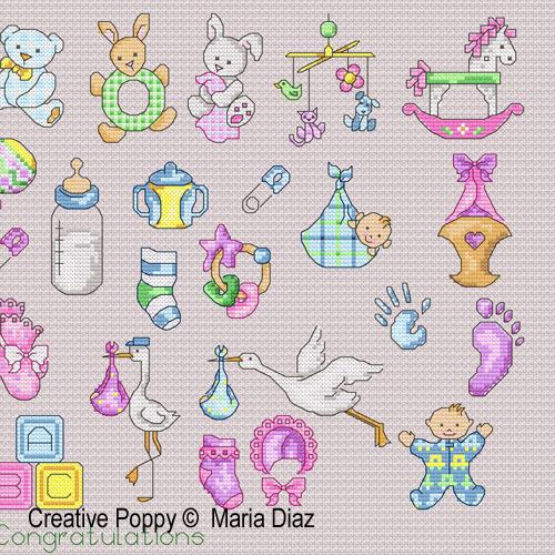 36 motifs naissance, grille de broderie, création Maria Diaz