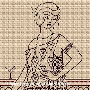 <b>Blackwork Lady</b><br>Broderie en Blackwork<br>création <b>Maria Diaz</b>