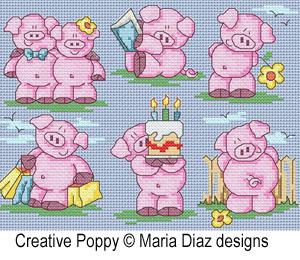 Maria Diaz - 11 Petits cochons en été (grille de broderie point de croix)