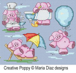 Maria Diaz - 11 Petits cochons en été, zoom 1 (grille de broderie point de croix)