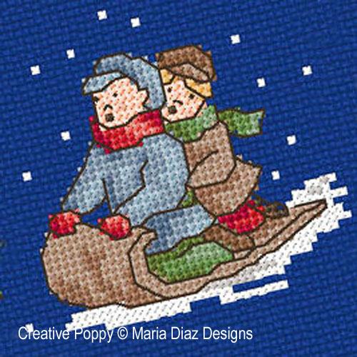 Noël autrefois - les enfants broderie point de croix, création Maria Diaz, zoom3