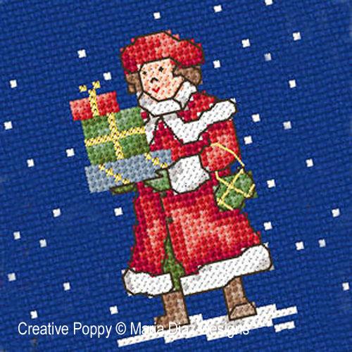 Noël autrefois - les enfants broderie point de croix, création Maria Diaz, zoom1