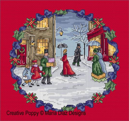 Noël autrefois, grille de broderie, création Maria Diaz
