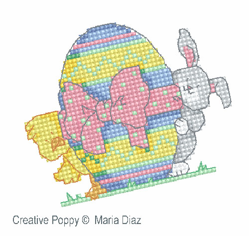 Poussin et lapin de Pâques broderie point de croix, création Maria Diaz, zoom2