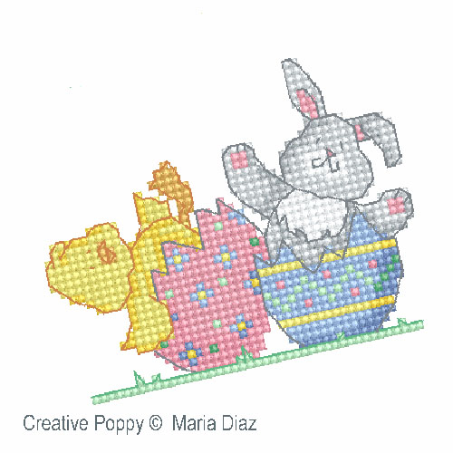 Poussin et lapin de Pâques broderie point de croix, création Maria Diaz, zoom3