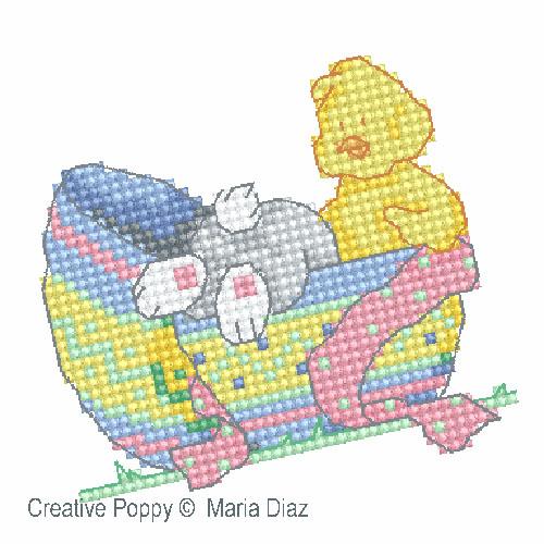 Poussin et lapin de Pâques broderie point de croix, création Maria Diaz, zoom1