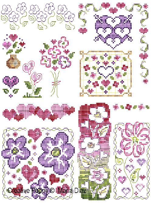 Motifs floraux en rose et mauve, grille de broderie, création Maria Diaz