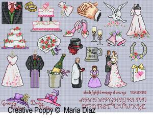 Les chapeaux des mères des mariés - Mini motifs mariage, création Maria Diaz - grille de broderie point de croix