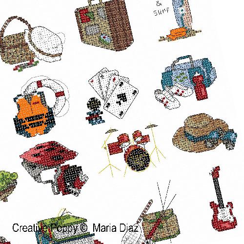 Maria Diaz - Loisirs, sports, hobbies (20 motifs) (grille broderie point de croix)