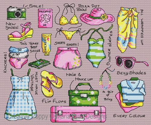 La valise des vacances, grille de broderie, création Maria Diaz