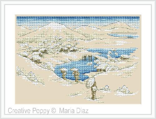Paysage japonais sous la neige, grille de broderie, création Maria Diaz