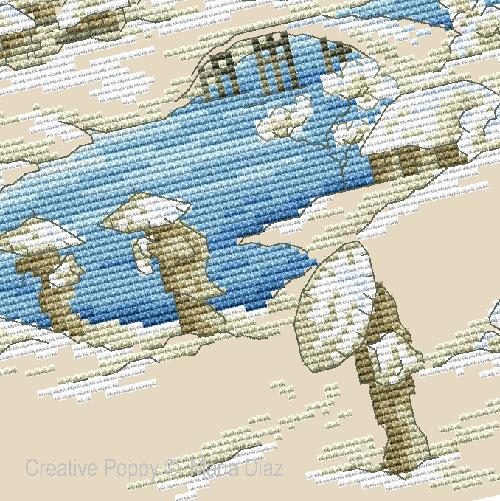 Paysage japonais sous la neige broderie point de croix, création Maria Diaz, zoom3