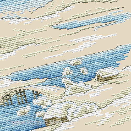 Paysage japonais sous la neige broderie point de croix, création Maria Diaz, zoom1